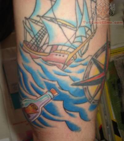 Sea Boat And Compass Tattoo of 1 by Eddie