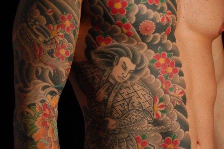 side rib anese samurai tattoo