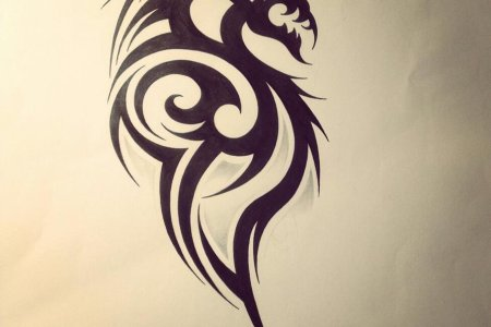 latest black tribal dragon tattoo design