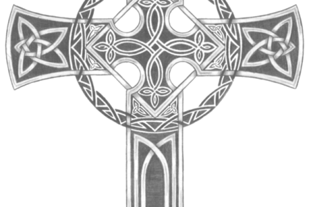 grey ink celtic cross tattoo design