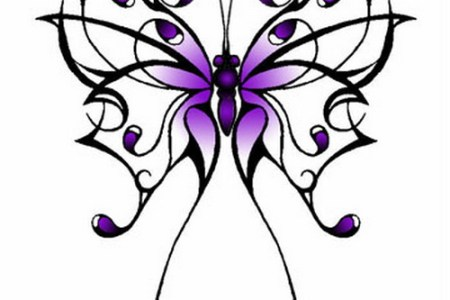 purple ink erfly tattoo design