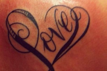 love word and heart tattoo