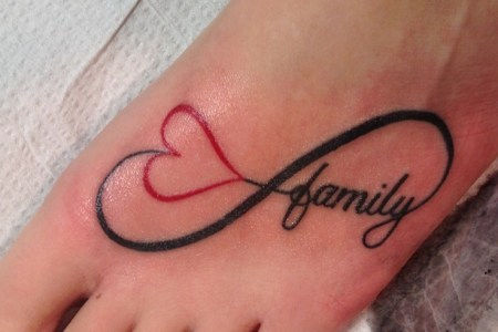 family infinity tattoo on left foot