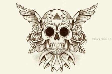 winged sugar skull tattoo design