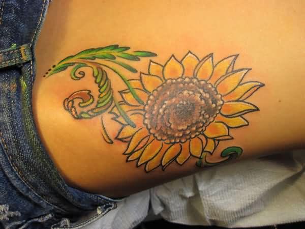 Left Hip Sunflower Tattoo 2019 Tattoos Ideas