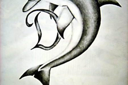 dolphin with letter d tattoo design
