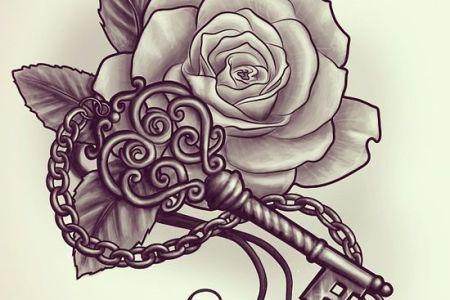 key and rose tattoo design idea
