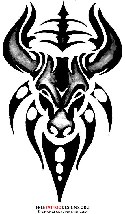 Cool Tribal Bull Tattoo Design of 1 by Kara