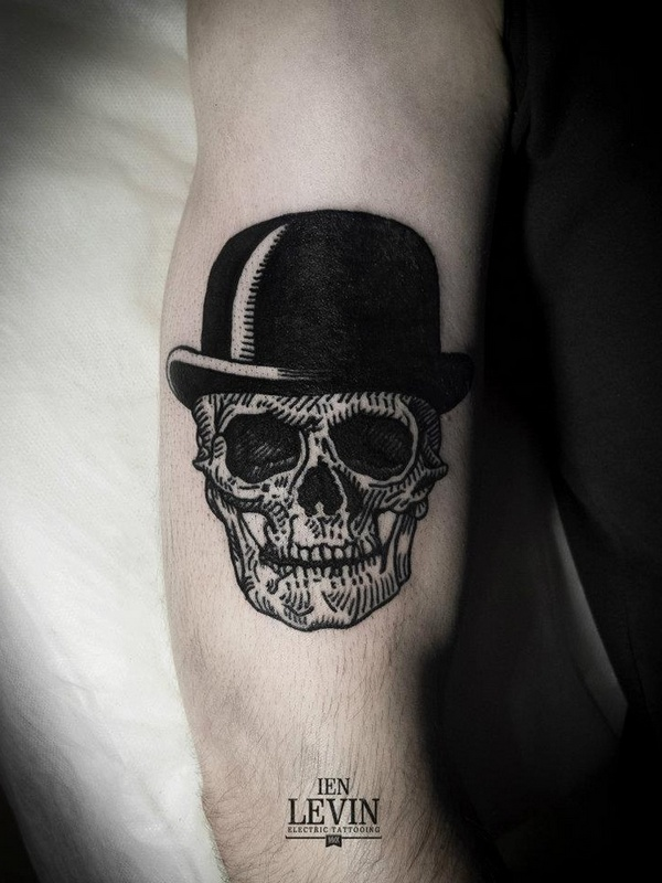 Black Hat With Skull Tattoo On Right Bicep of 1 by Larry