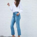 Cropped Denim Jeans and White Lace Cutout Blouse