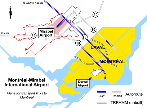 Planned and existing highways connecting to Mirabel Int'l Airport