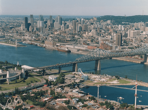 Aerial photo of Downtown Montreal ca. 1993