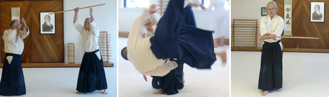 "Eric Evenson, nidan, started aikido in 1996. ""The Aikidoist joins in the collision of opposites, until the pain within is transformed into the joy expressed. Happiness never happens in the future. It always arises in our 'now'"""