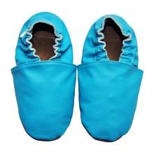 chaussons bébé enfant adulte en cuir souple bleu cyan Eko Tuptusie