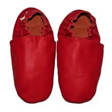 chaussons bébé enfant adulte en cuir souple rouge Eko Tuptusie