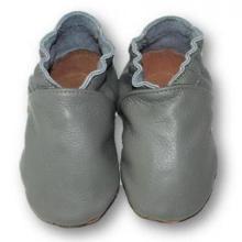 Chaussons en cuir souple bebe enfant adulte Unis Gris Eko tuptusie