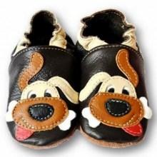 Chaussons en cuir souple bebe enfant Doggy black