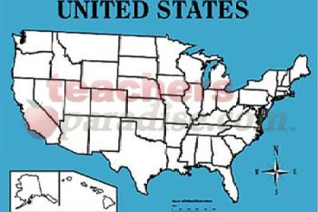 """wipe off map united states (22"""" x 28"""") from"""