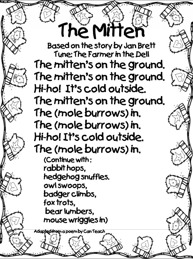 picture relating to The Mitten Story Printable named The Mitten
