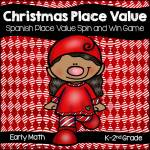 Spanish Christmas Place Value Spin and Win Game