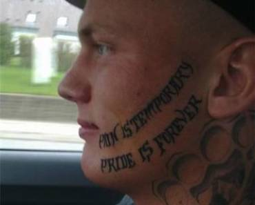 Another stupid ugly tattoo fail from TeamJimmyJoe.com, worst ever, face tattoo