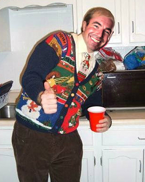 Marcos Ambrose in his ugly christmas sweater Holiday sweater funny pictures funny nascar driver pictures photos