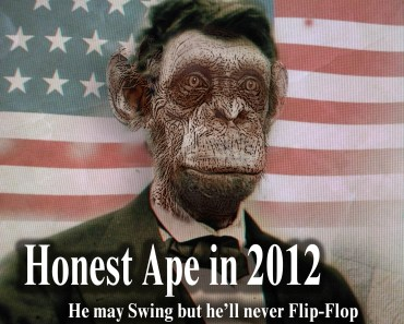 Honest Ape, swing states, candidates you can count on -Abe lincoln, Ape, Monkey, funny animals, crazy, presidential election, candidates, Mitt Romney, Obama, Newt Gingrich, Ron Paul, debates, trust, CNN