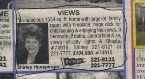 funny real estate listings, caldwell century 21 shirley hunsperger, banner, funny store signs, fun advertisements, ads, worst ever, bad, street signs, real estate, misspelled, wrong, fail, stupid, wtf, bad product names, funny names, funny people, wrong place wrong time,