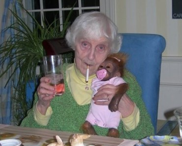 Funny Smoking Granny with Monkey, Grandmother worst family photos, funny pictures, wtf, awkward family photos