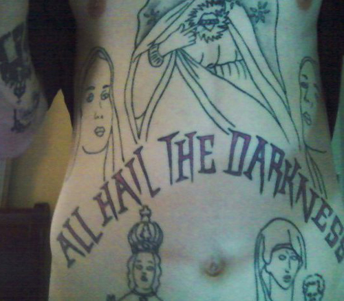 All Hail The Darkness Worst Tattoos Ever, Funny Pictures, Horrible Tattoos, Ugliest Tattoos, Bad Tattoos Ellen, stupid people, awful tattoos, tattoo fails bad tattoo portraits
