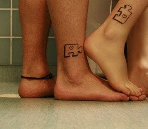 Matching Tattoos, puzzle pieces tattoos Worst Tattoos Ever, Funny Pictures, Horrible Tattoos, Ugliest Tattoos, Bad Tattoos Ellen, stupid people, awful tattoos, tattoo fails bad tattoo portraits