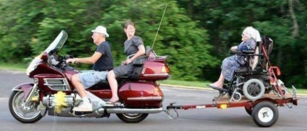 pulling rascal with motorcycle, motorcycle trailer, crazy grandmaFamily Photos, worst family pictures, funny pictures, awkward family photos bad family stupid fotos lol lmfao