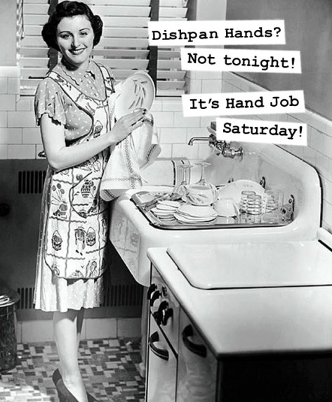 Vintage 1950's Housewife memes, funny sayings, sarcasm, e cards, funny pictures, women's humor washing dishes in the kitchen