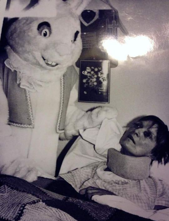 Vintage Creepy Easter Bunny visiting dead woman in the hospital