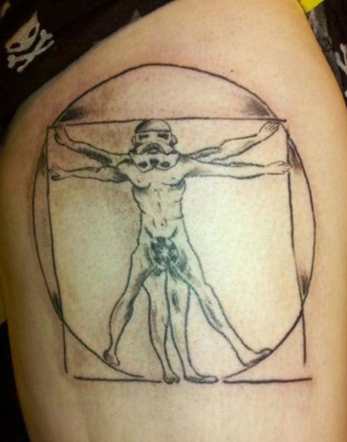 Storm Trooper Vitruvian Man Davinchi stormtrooper Bad Star Wars Tattoos, Worst Star Wars Tattoos, ugliest tattoos, funny tattoos, star wars convention, ugliest tattoos, worst tattoos in america, stupid people, funny pictures, wtf, fail, crazy, horrible, terrible, regrettable, regrets, awful ugly