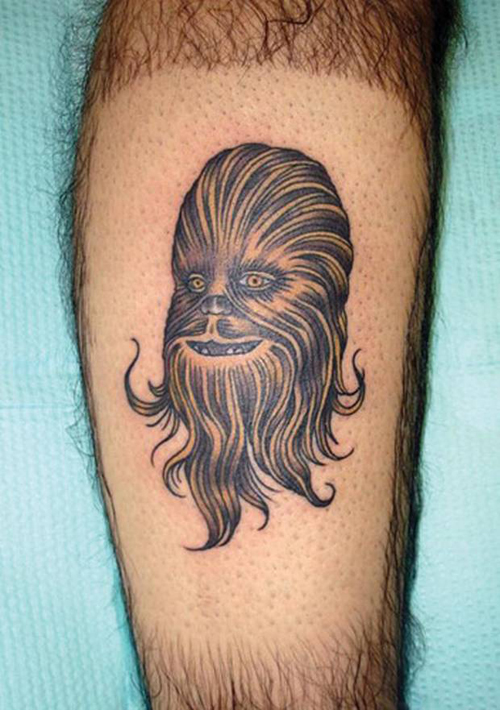 Chewbacca on Hairy legs Bad Star Wars Tattoos, Worst Star Wars Tattoos, ugliest tattoos, funny tattoos, star wars convention, ugliest tattoos, worst tattoos in america, stupid people, funny pictures, wtf, fail, crazy, horrible, terrible, regrettable, regrets, awful ugly