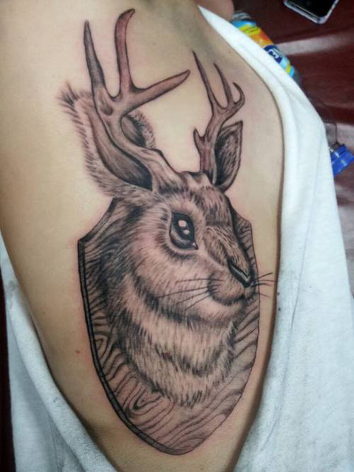 Jackalope Tattoo Funny Tattoos regrettable bad tattoos terrible awful ugliest tattoos wtf tattoos, horrible tattoos awkward family photos america's worst tattoos photos crazy people weird people stupid humor redneck humor