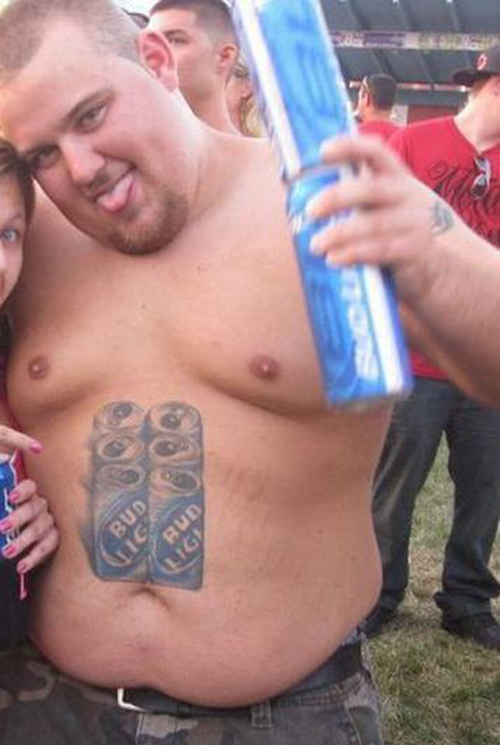 Bud Light Six Pack 6 fat stomach Worst tattoos bad tattoos funny stupid crazy horrible regrettable wtf awkward family photos