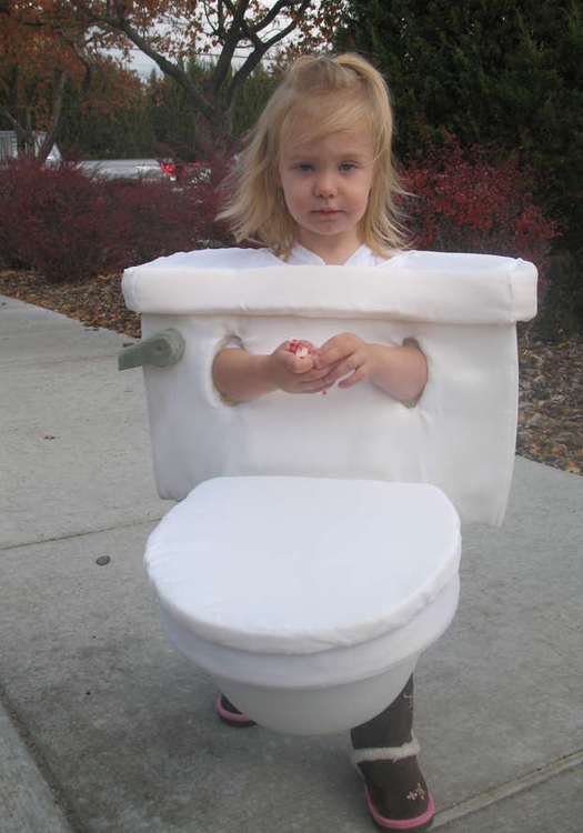 Girl dressed as toilet Worst Halloween Costume Bad Halloween Costumes for kids for adults inappropriate wtf worst tattoos bad tattoos awkward family photos funny costumes funny halloween family