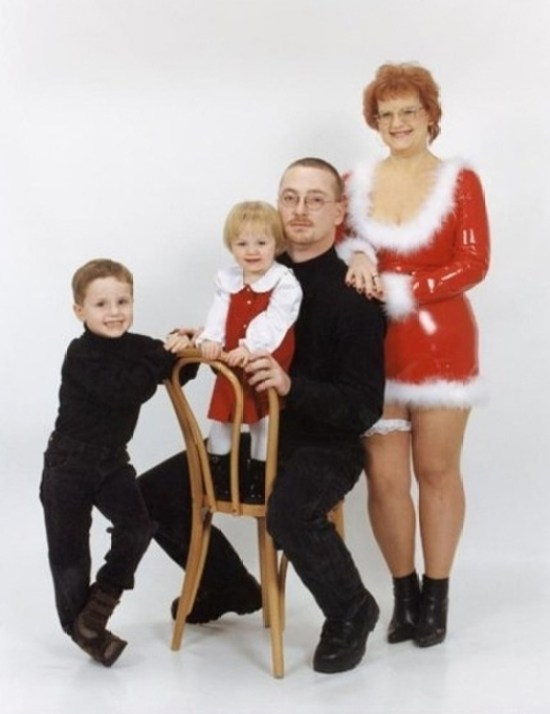 Mom in latex Sexy Mrs Claus Outfit ~ 25 Funny, Creepy Family Christmas Photos