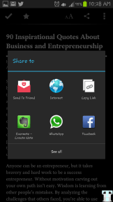 Pocket Share Menu