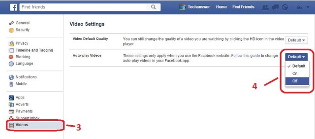 Facebook Auto play video turn off-2