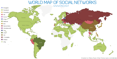 Map of Social Networks in the Worlds
