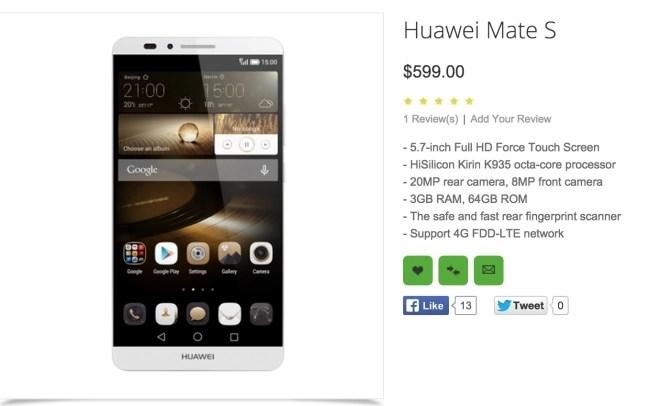 huawei mate S Price on Oppomart