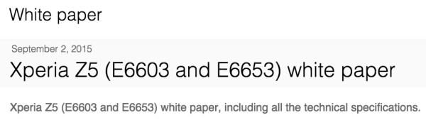 Sony Xperia Z5 Model Number