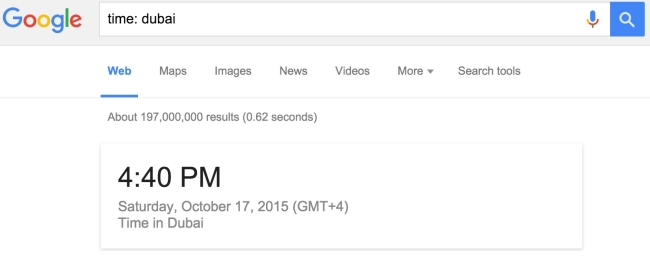 Check Time in Google Search