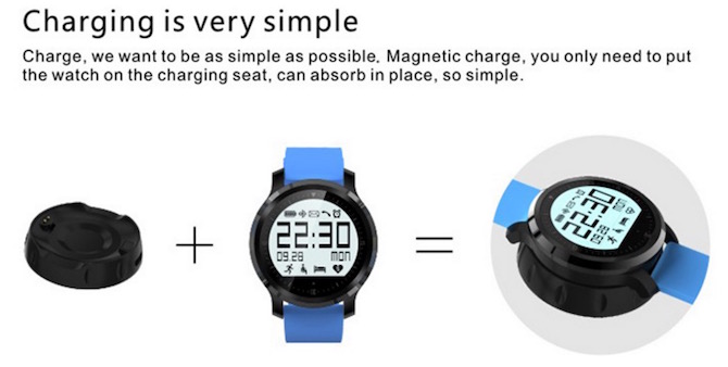 F68 Sports smartwatch charging option