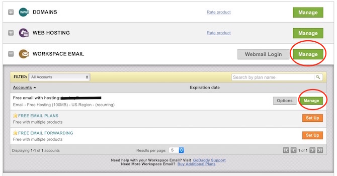GoDaddy Email workspace login