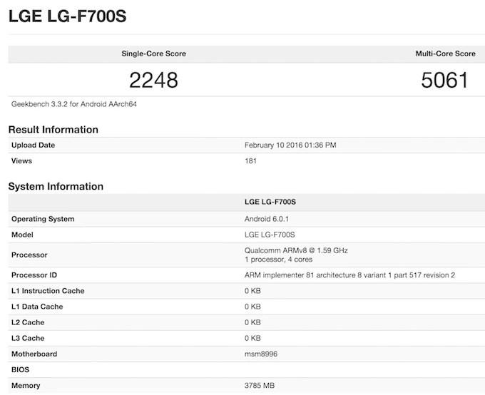 LG G5 Geekbench 3 benchmark