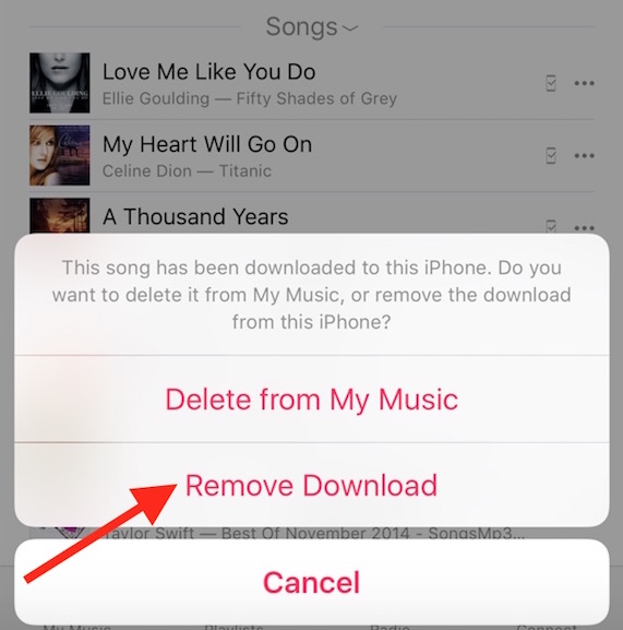 Remove Music from iPhone
